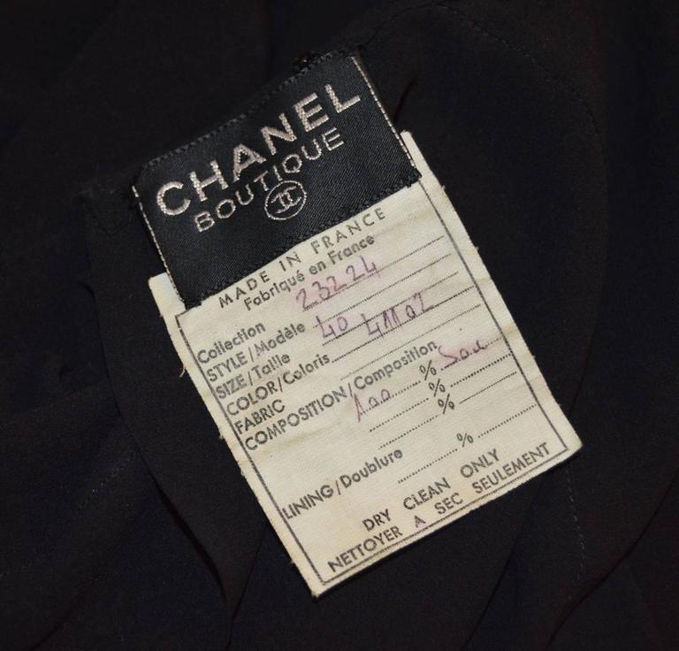 Chanel 1990's Black Sheer Silk Classic Career Dress 52 40 In Excellent Condition For Sale In Philadelphia, PA