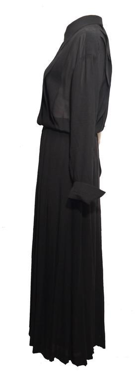 Chanel 1990's Black Sheer Silk Classic Career Dress 52 40 For Sale 1