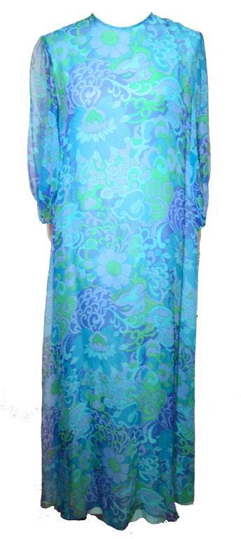 Doreen Lok 1960s Blue Silk Chiffon Paisley Print Dress For