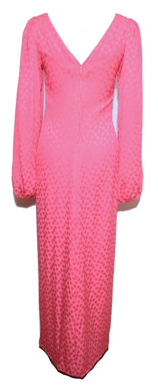 Eric Y Juan 1980s Pink Silk Polka Dot Ruched Dress 5