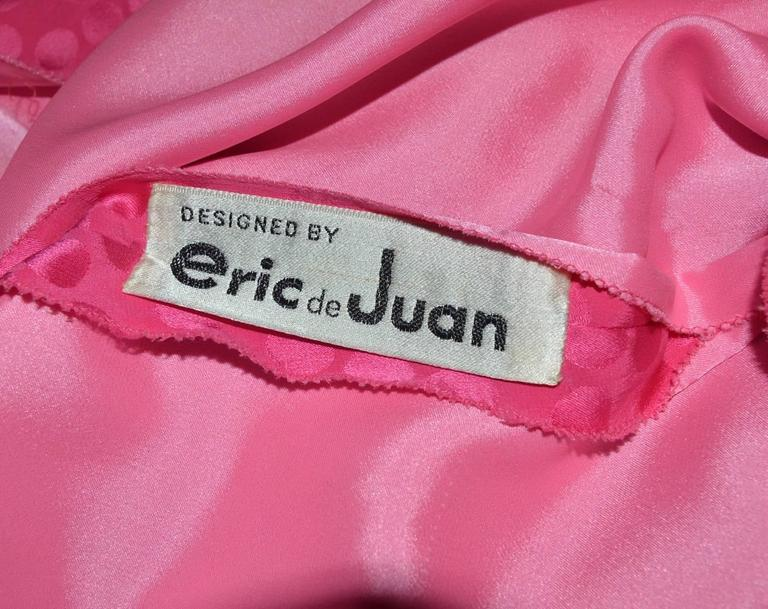 Eric Y Juan 1980s Pink Silk Polka Dot Ruched Dress 4