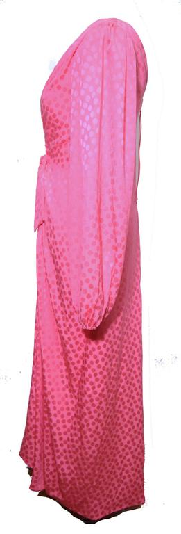 Eric Y Juan 1980s Pink Silk Polka Dot Ruched Dress For Sale 2