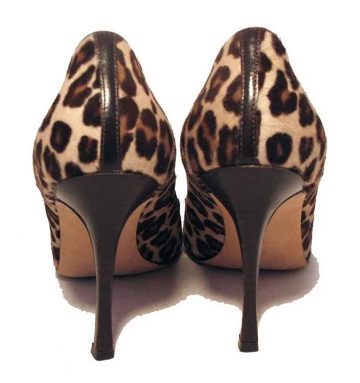 Manolo Blahnik Leopard Print Pony Hair Peep Toe Pumps Size 38 2