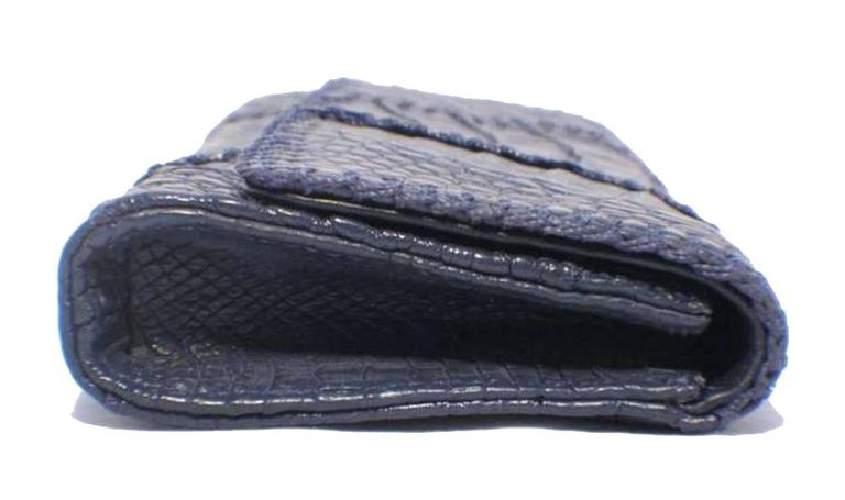 Gray Carlos Falchi Blue Crocodile Patchwork Clutch For Sale
