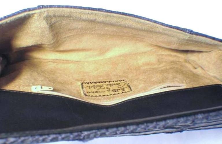 Carlos Falchi Blue Crocodile Patchwork Clutch In Excellent Condition For Sale In Philadelphia, PA