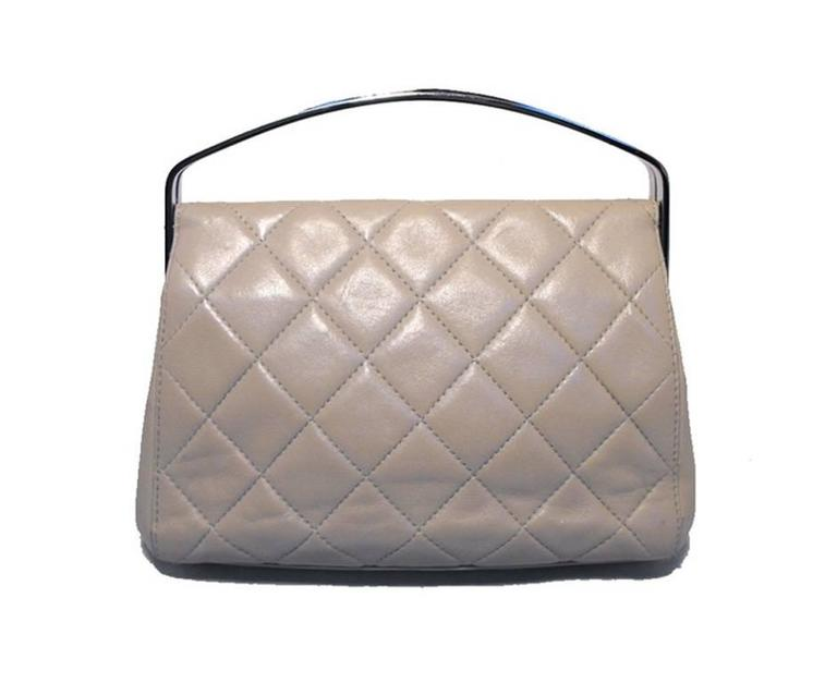 RARE Chanel Beige Quilted Leather Silver Handle Handbag 2