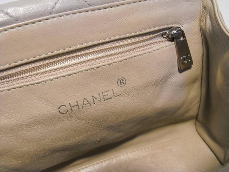 RARE Chanel Beige Quilted Leather Silver Handle Handbag 6