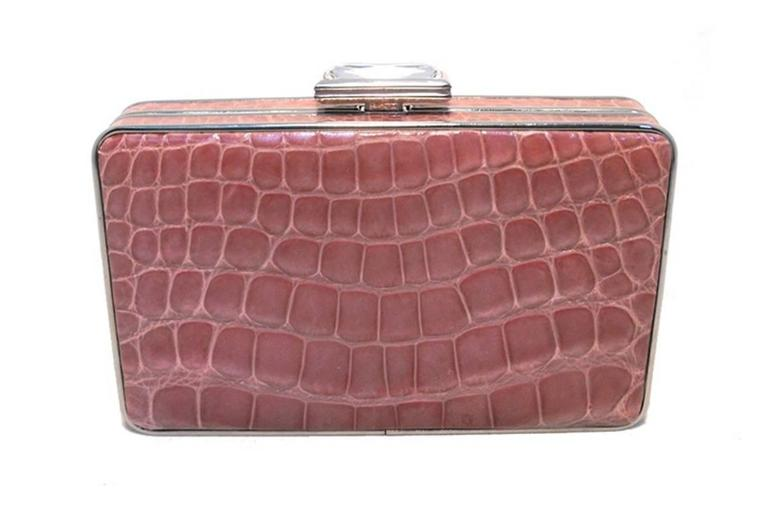 Brown Judith Leiber Pink Alligator Box Clutch With Crystal Closure For Sale