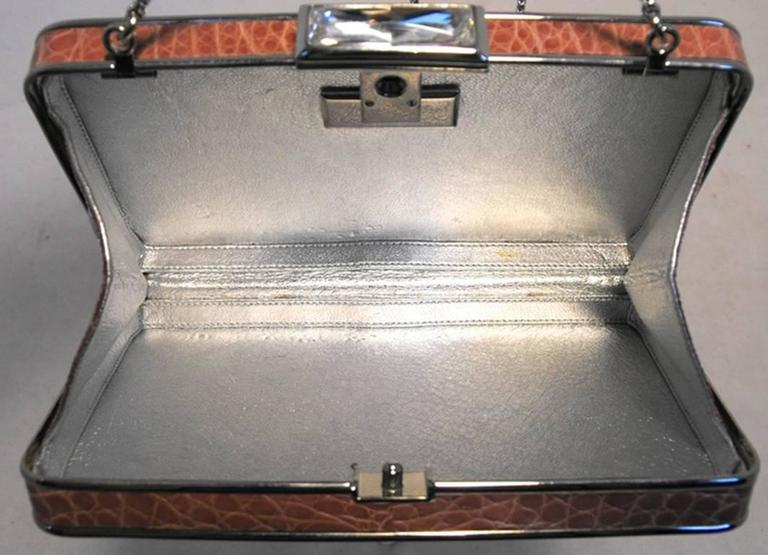 Judith Leiber Pink Alligator Box Clutch With Crystal Closure For Sale 2