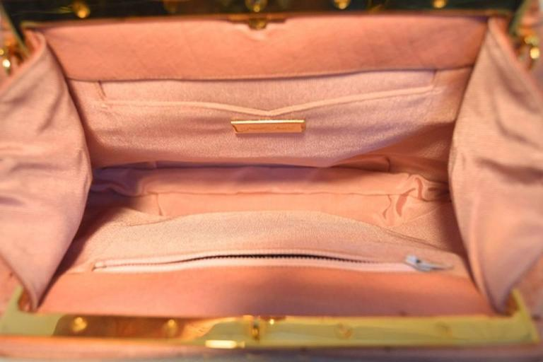 Judith Leiber Pink Ostrich Convertible Clutch For Sale 1
