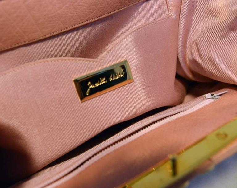 Women's Judith Leiber Pink Ostrich Convertible Clutch For Sale