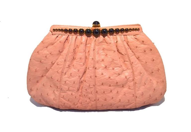 Judith Leiber Pink Ostrich Convertible Clutch For Sale 2