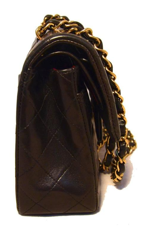 "Women's Chanel Black Brown Quilted Leather 9"" Double Flap Classic 2.55 For Sale"