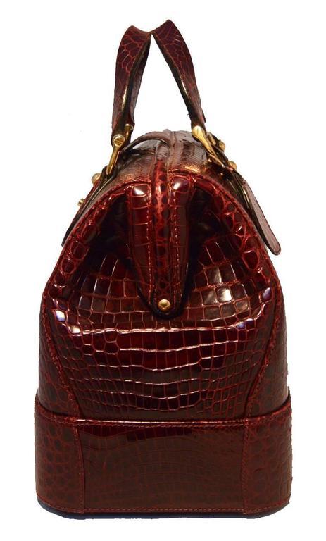 Rare Vintage GUCCI Dark Red Alligator XL Doctor Bag Tote 3