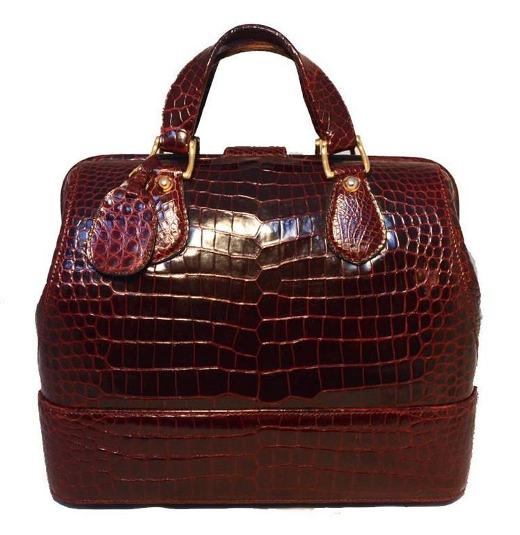 Rare Vintage GUCCI Dark Red Alligator XL Doctor Bag Tote 2
