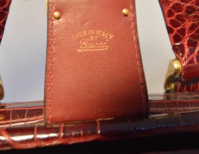 Rare Vintage GUCCI Dark Red Alligator XL Doctor Bag Tote 7