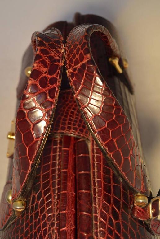 Rare Vintage GUCCI Dark Red Alligator XL Doctor Bag Tote 8