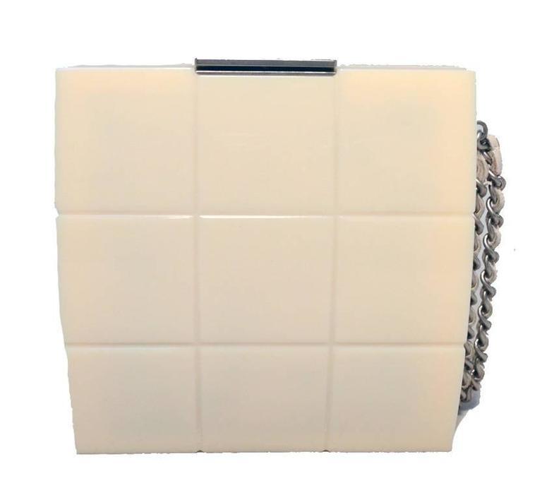 RARE Chanel Cream Resin Box Clutch Wristlet 2