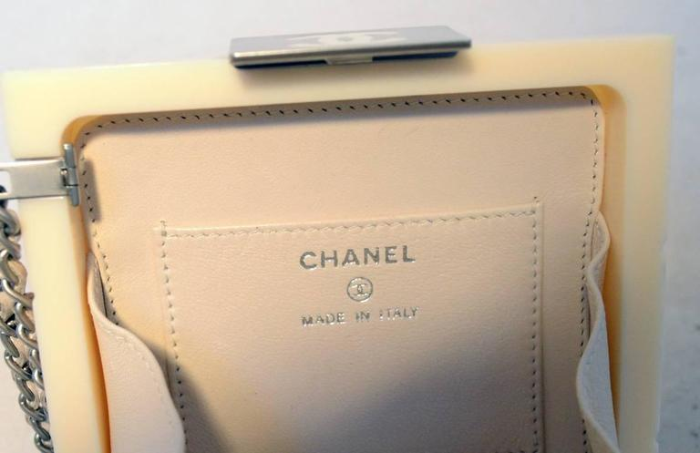 RARE Chanel Cream Resin Box Clutch Wristlet 7