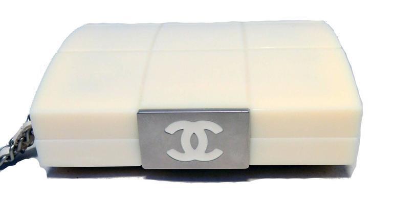 RARE Chanel Cream Resin Box Clutch Wristlet 4
