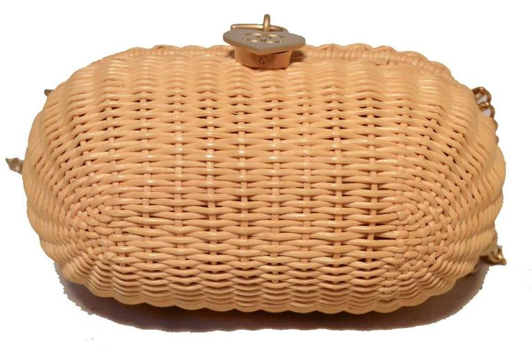 Chanel Tan Wicker Rattan Basket Shoulder Bag  4