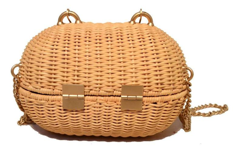 Chanel Tan Wicker Rattan Basket Shoulder Bag  2