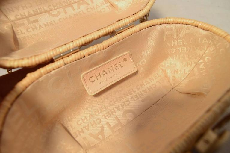 Chanel Tan Wicker Rattan Basket Shoulder Bag  6