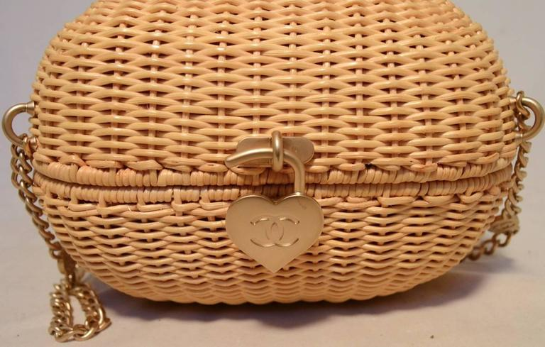 Chanel Tan Wicker Rattan Basket Shoulder Bag  8