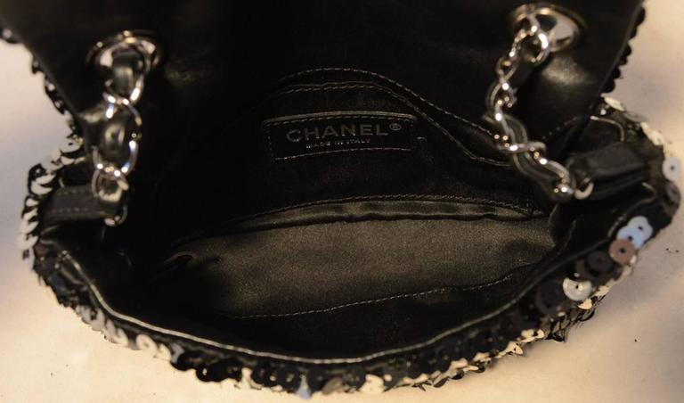 Chanel Black and Silver Sequin Mini Classic Flap Shoulder Bag 5
