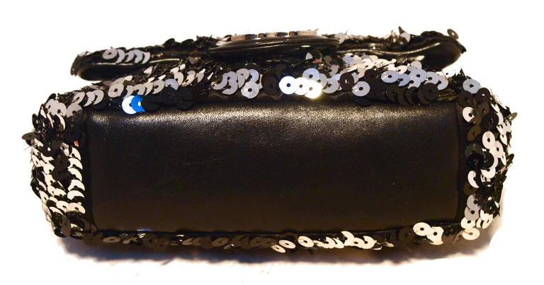 Women's Chanel Black and Silver Sequin Mini Classic Flap Shoulder Bag For Sale