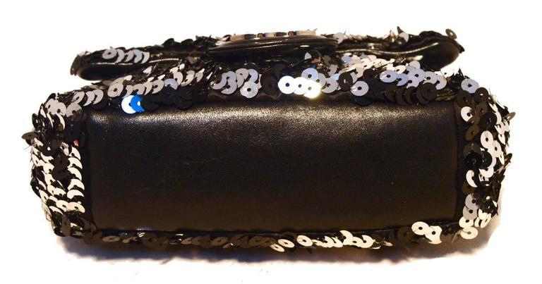 Chanel Black and Silver Sequin Mini Classic Flap Shoulder Bag 4