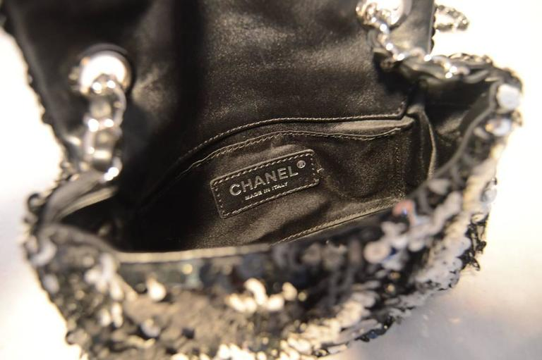 Chanel Black and Silver Sequin Mini Classic Flap Shoulder Bag For Sale 2