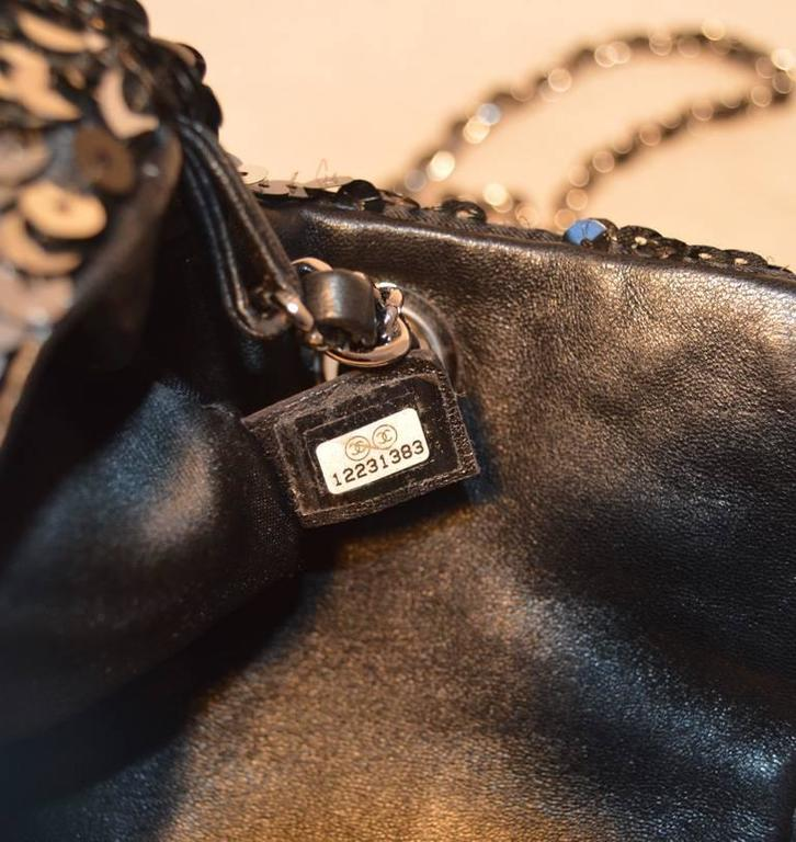 Chanel Black and Silver Sequin Mini Classic Flap Shoulder Bag 7