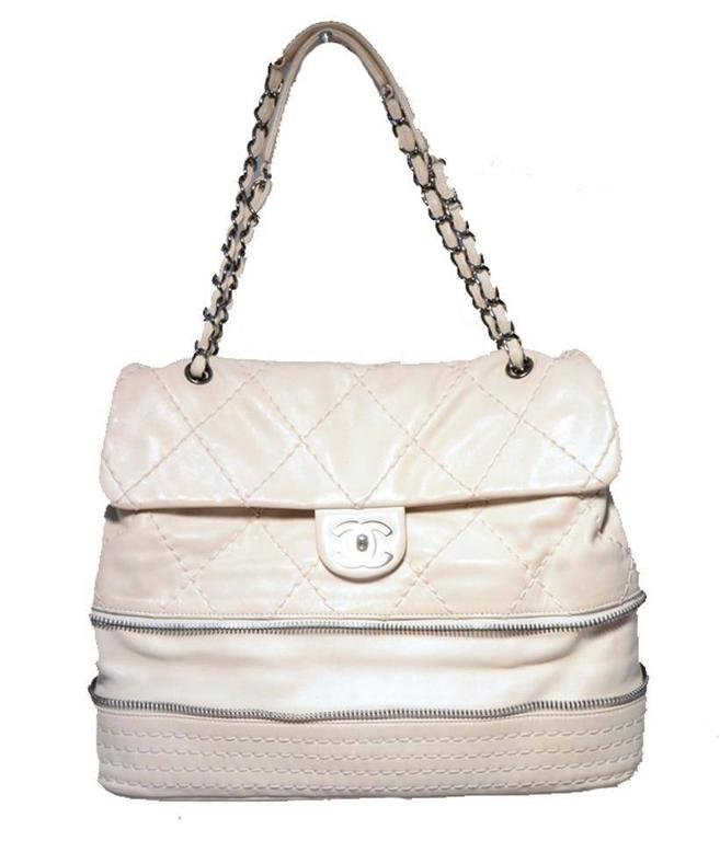 Beige Chanel Quilted Leather Zip Bottom Classic Shoulder Bag For