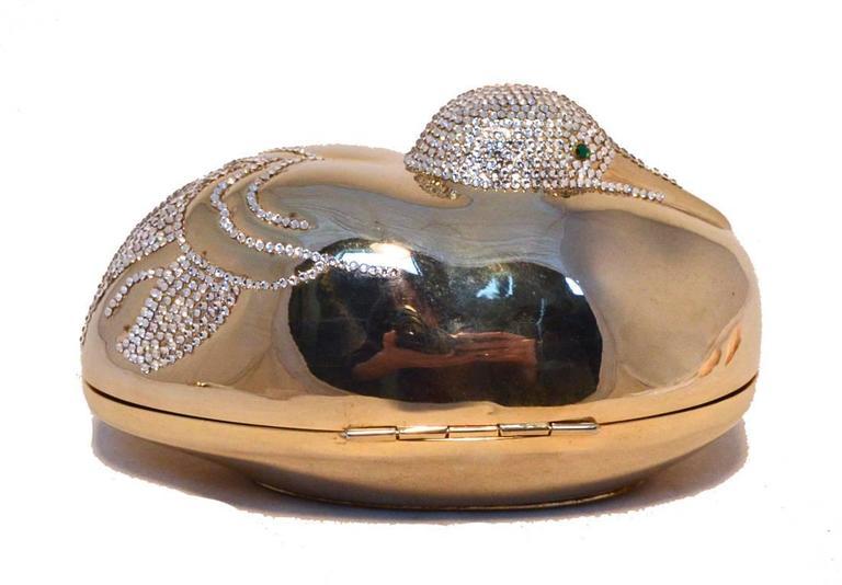 Brown Judith Leiber Gold Swarovski Crystal Sitting Duck Minaudiere For Sale