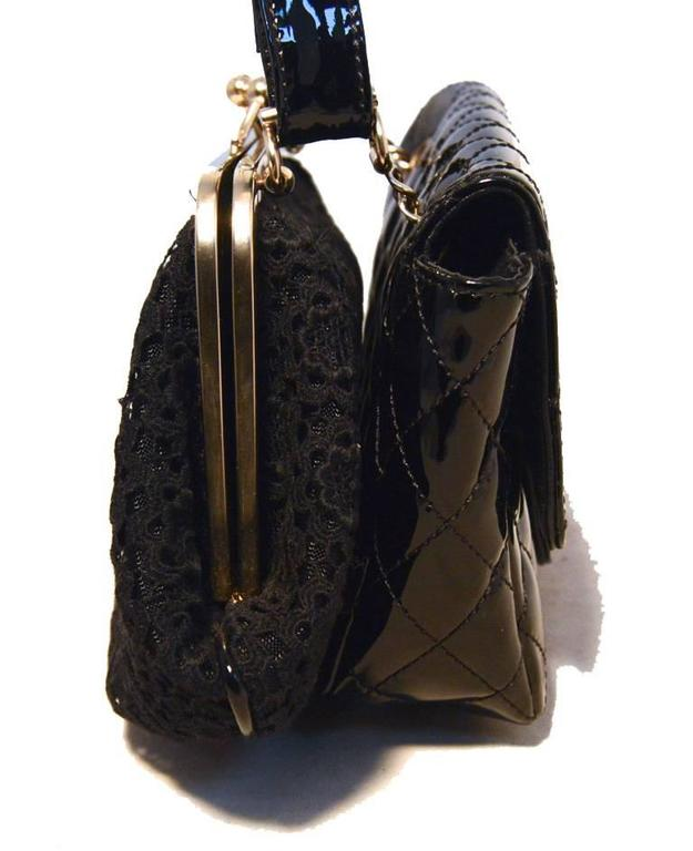a3475b36ceb Fabulous Chanel classic flap and pouch shoulder bag in excellent condition. Black  patent leather classic