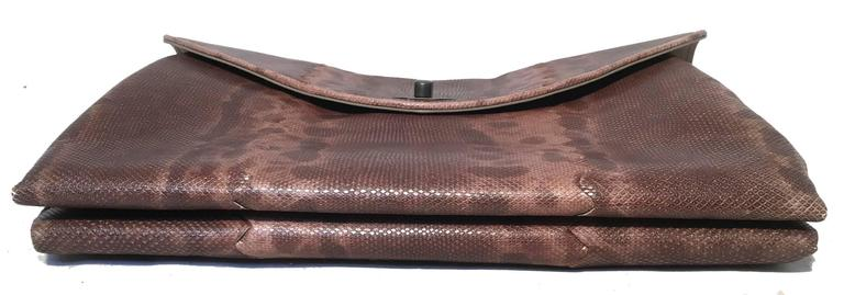 Women's Bottega Veneta Brown Lizard Leather Clutch For Sale