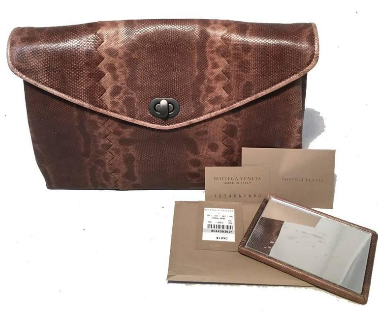 Bottega Veneta Brown Lizard Leather Clutch For Sale 4