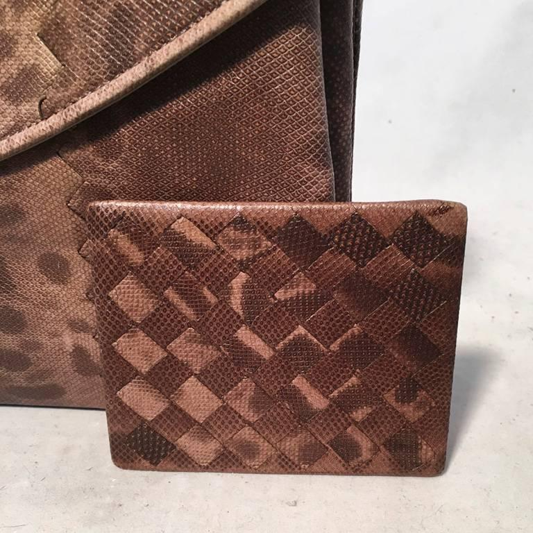 Bottega Veneta Brown Lizard Leather Clutch For Sale 6