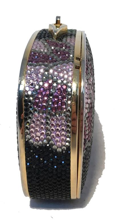 Judith Leiber Swarovski Crystal Black Floral Box Minaudiere In Excellent Condition For Sale In Philadelphia, PA