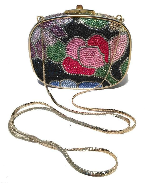 Judith Leiber Swarovski Crystal Black Floral Box Minaudiere For Sale 3