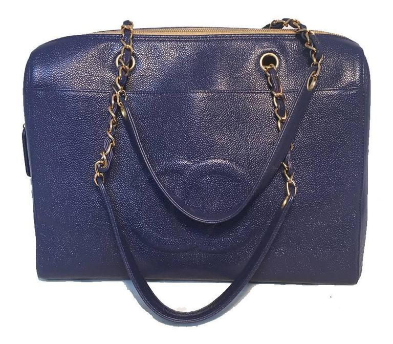 Chanel Royal Blue Caviar Leather Shoulder Bag Tote 3