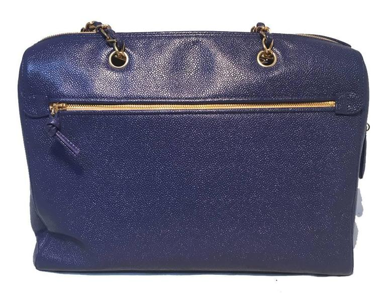 Chanel Royal Blue Caviar Leather Shoulder Bag Tote 4