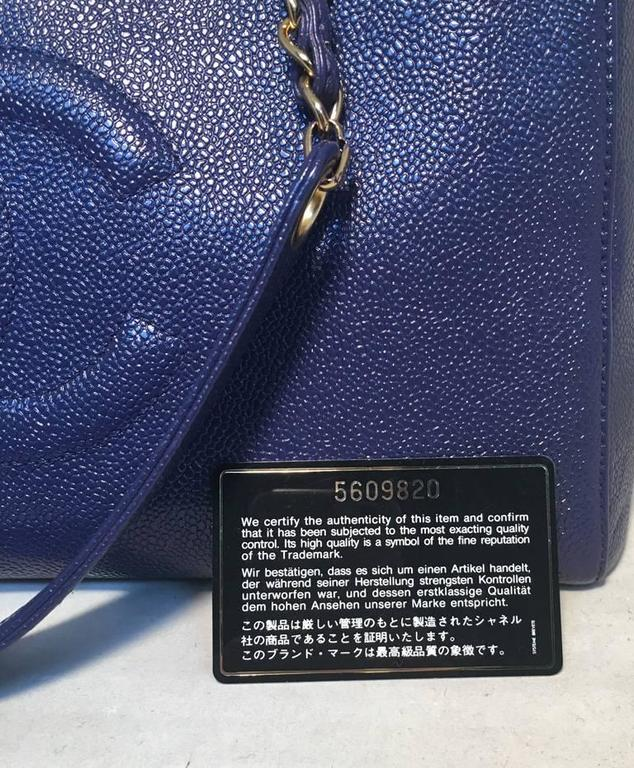 Chanel Royal Blue Caviar Leather Shoulder Bag Tote 8