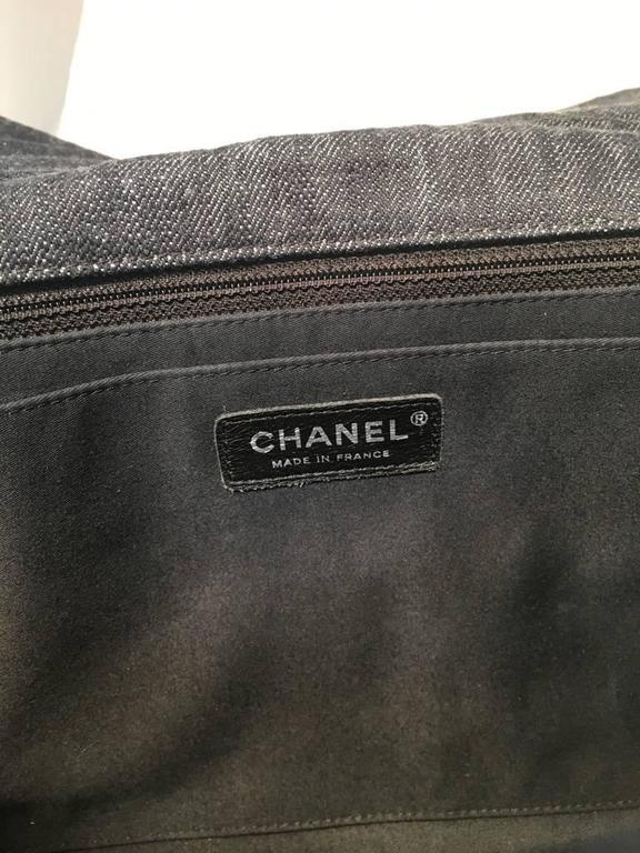 Chanel Patchwork Denim Tweed and Leather Jumbo Classic Flap Shoulder Bag For Sale 2