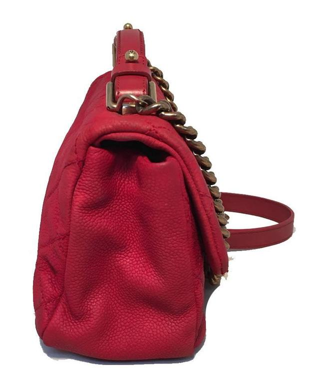 Chanel Red Nubuck Caviar Leather Classic Flap Shoulder Bag In Excellent Condition For Sale In Philadelphia, PA