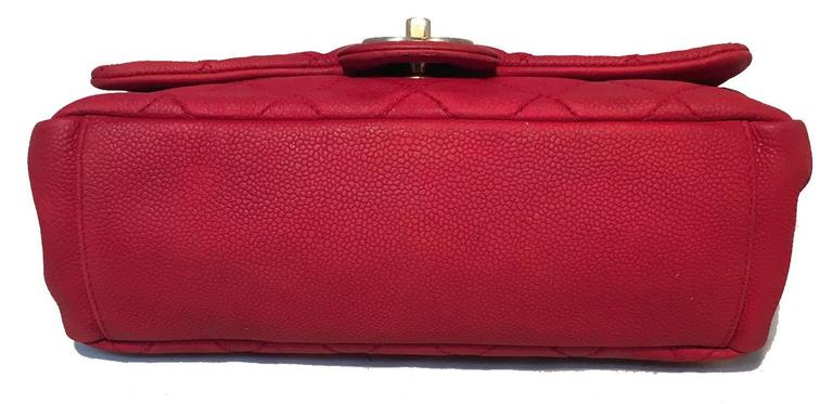 Women's Chanel Red Nubuck Caviar Leather Classic Flap Shoulder Bag For Sale