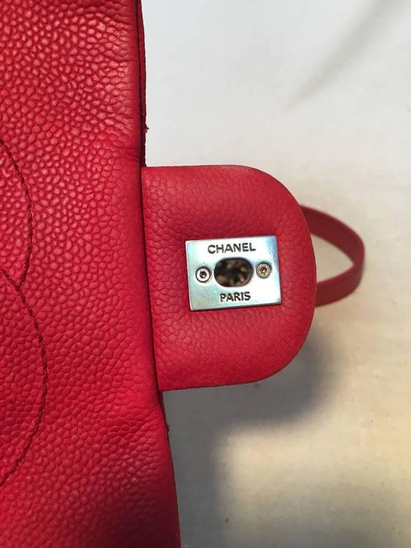 Chanel Red Nubuck Caviar Leather Classic Flap Shoulder Bag For Sale 4