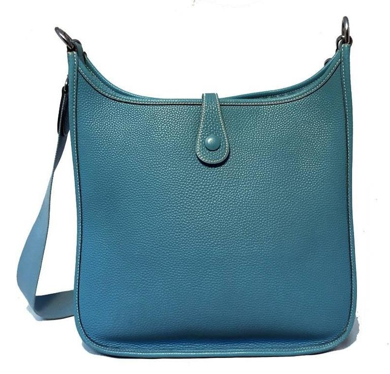 Hermes Blue Jean Togo Leather Evelyn PM I  2