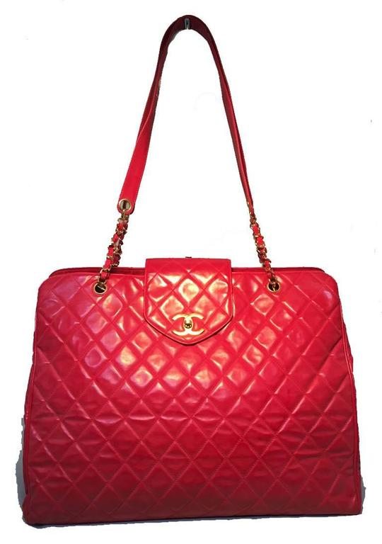 Chanel Red Quilted Pvc Model Overnight Tote Travel Bag For